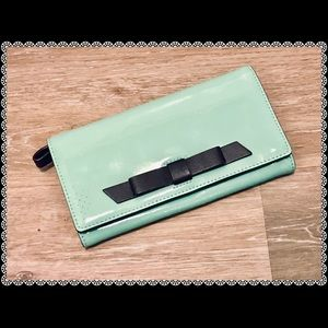 Kate Spade Patent Leather Bow Mint Green Wallet